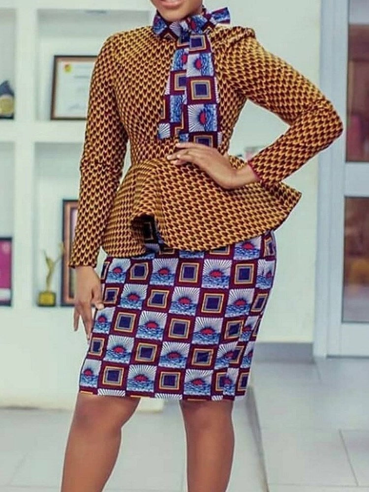 Shirt Western Print Bodycon Two Piece Sets