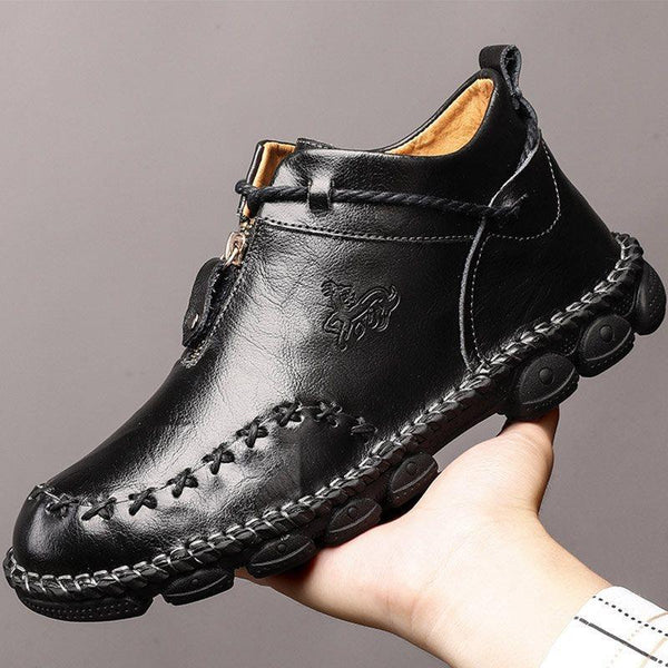 Plain Zipper Round Toe Thin Shoes