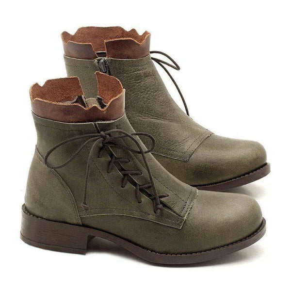 Round Toe Color Block Side Zipper Block Heel Casual Cross Strap Boots