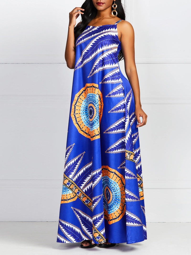 Floor-Length Print Sleeveless Spaghetti Strap Expansion Dress