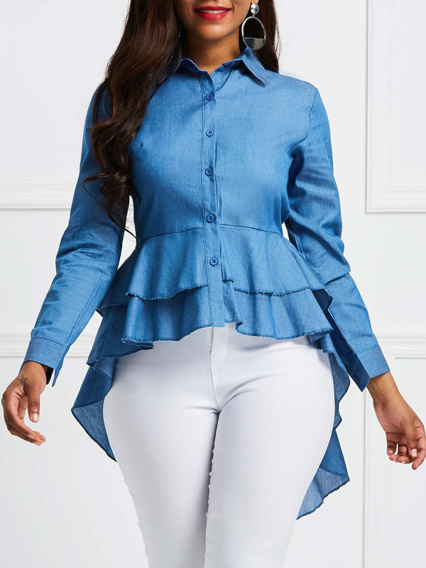 Falbala Plain Lapel Long Long Sleeve Blouse