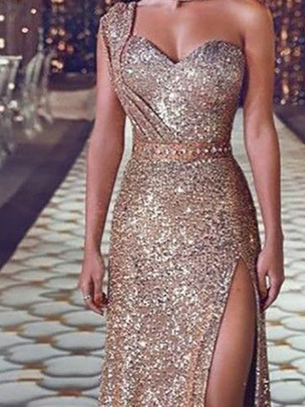 Floor-Length Sleeveless Sequins Pullover One-Shoulder Dress