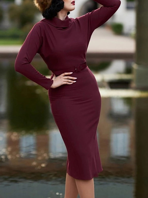 Mid-Calf Long Sleeve Casual Pullover Dress