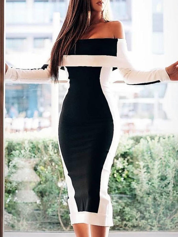 Off Shoulder Long Sleeve Mid-Calf Pullover Regular Dress
