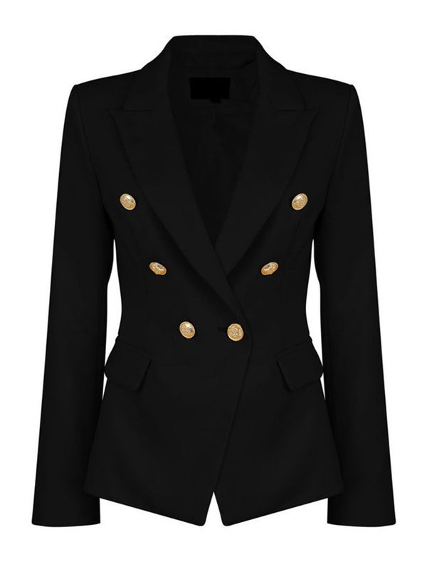 Notched Lapel Double-Breasted Long Sleeve Standard Casual Blazer