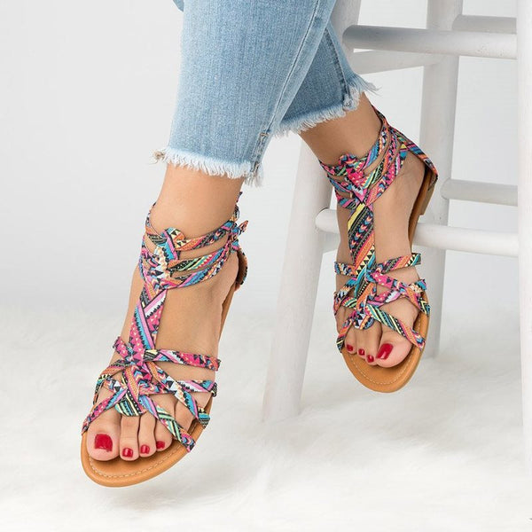 Zipper Block Heel Heel Covering Open Toe Ethnic Casual Sandals