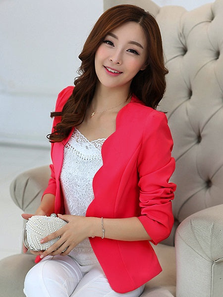 Notched Lapel Long Sleeve Plain Spring Mini Casual Blazer