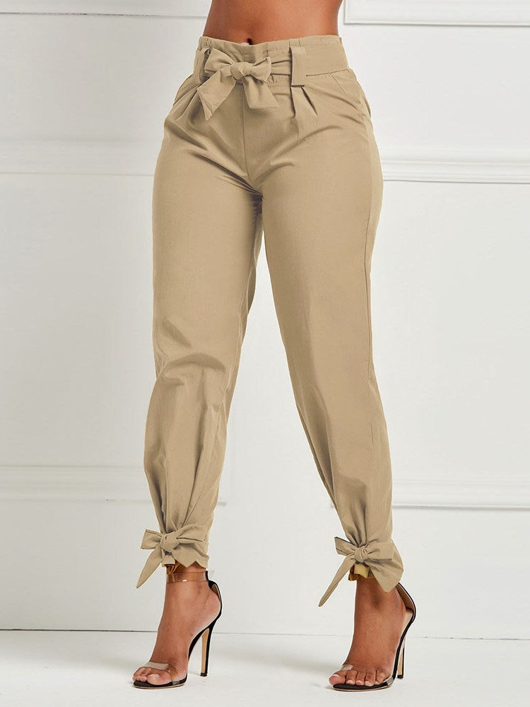 Loose Plain Pleated Harem Pants Mid Waist Casual Pants