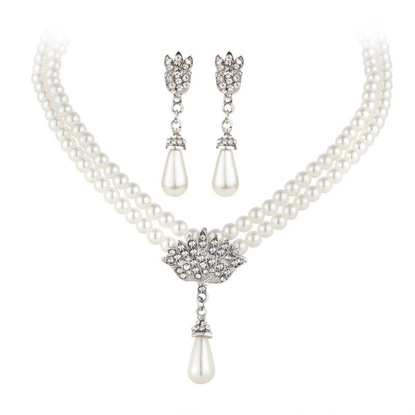 Necklace Plain Diamante Party Jewelry Sets