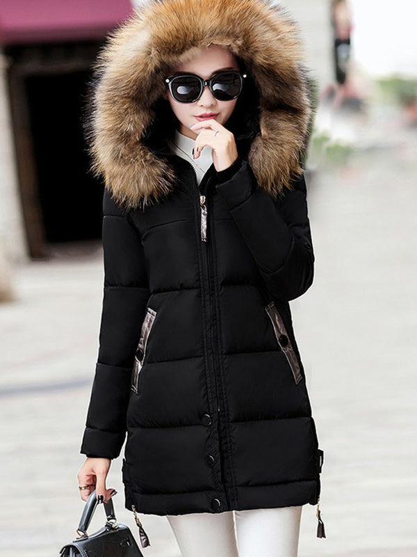 Slim Zipper Pocket Mid-Length Cotton Padded Jacket