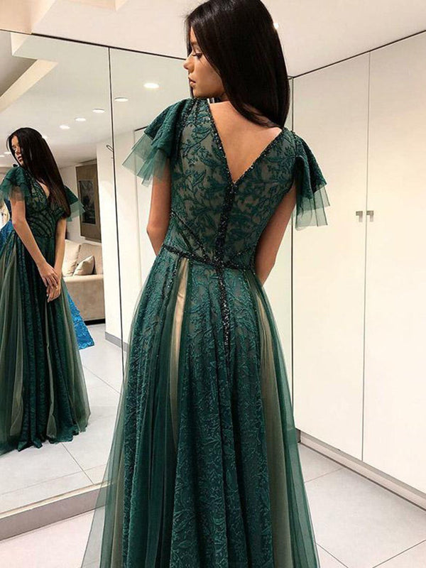A-Line Floor-Length Lace Cap Sleeves Prom Dress