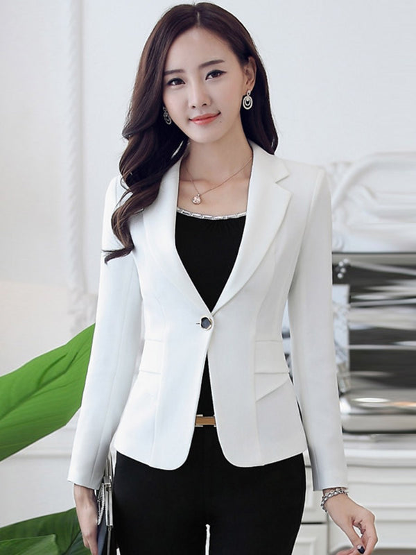 Plain Long Sleeve One Button Spring Regular Casual Blazer
