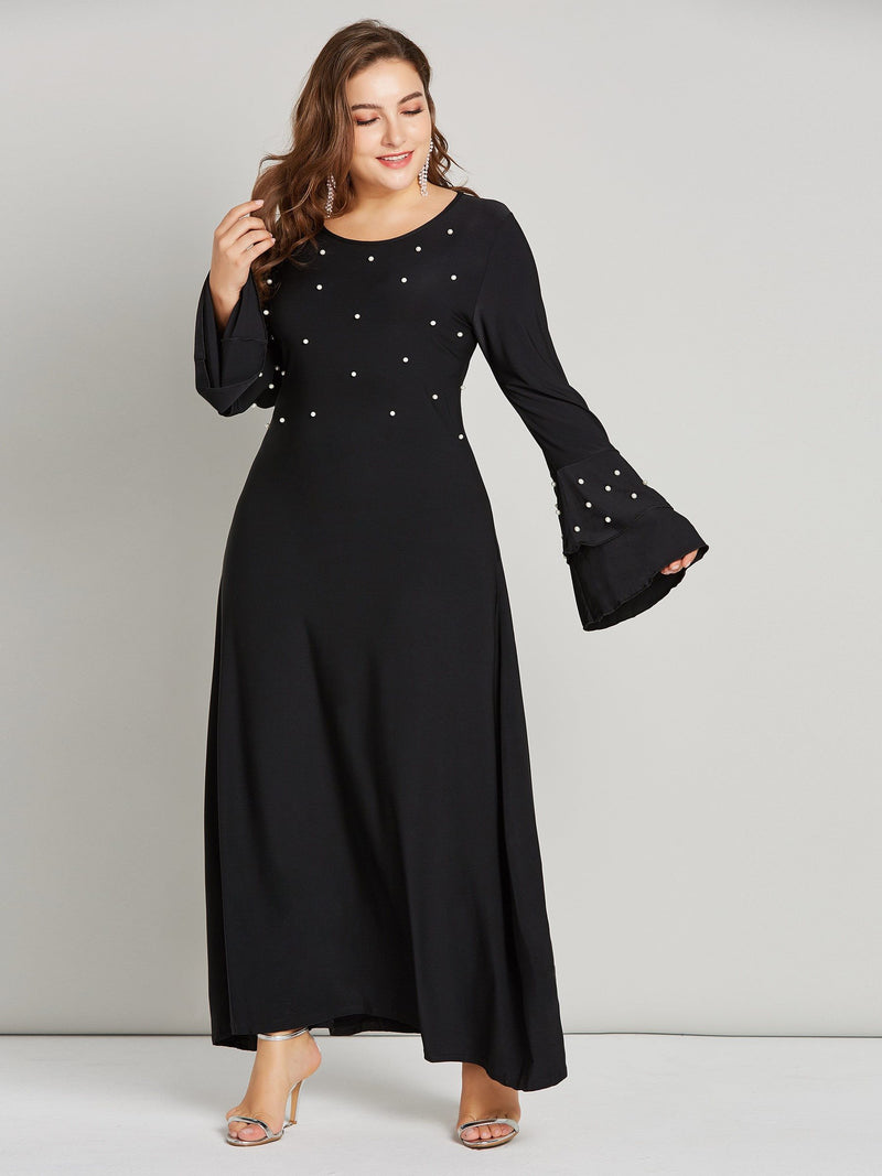 Long Sleeve Round Neck Bead Sweet Expansion Dress