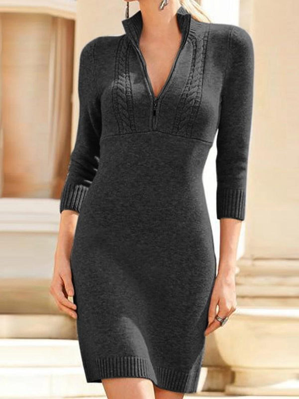 Three-Quarter Sleeve Zipper Above Knee Regular Plain Dress