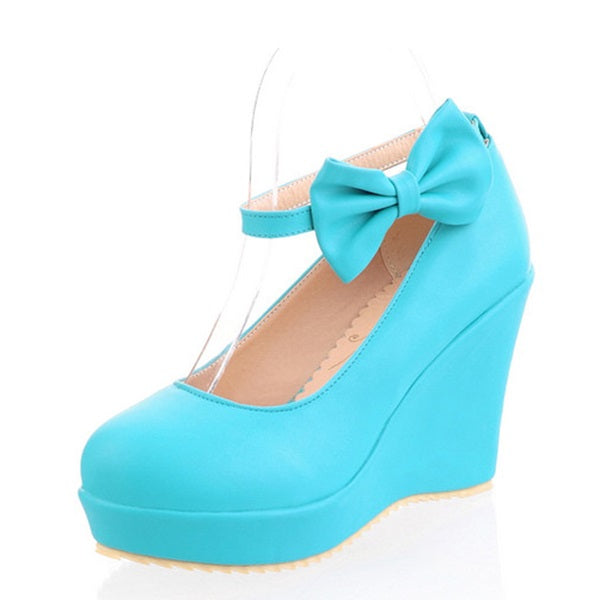 Bow Round Toe Wedge Heel Line-Style Buckle Sweet Low-Cut Upper Thin Shoes