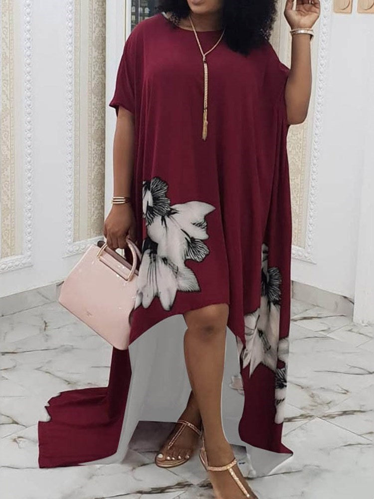 Short Sleeve Floor-Length Asymmetric Pullover Casual Dress