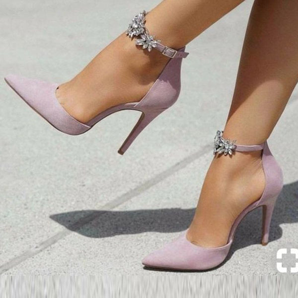 Stiletto Heel Line-Style Buckle Rhinestone Pointed Toe Casual 11cm Thin Shoes