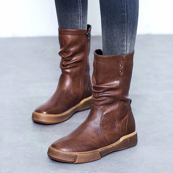 Side Zipper Round Toe Plain Platform Casual Boots