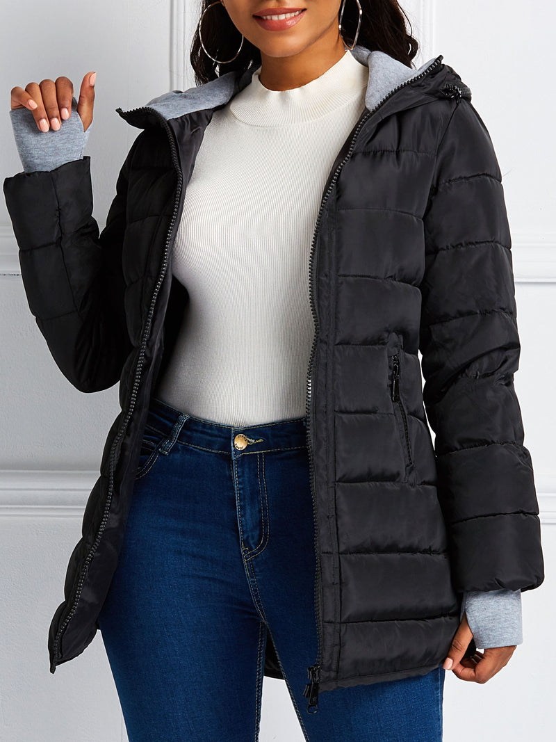 Slim Zipper Zipper Mid-Length Cotton Padded Jacket