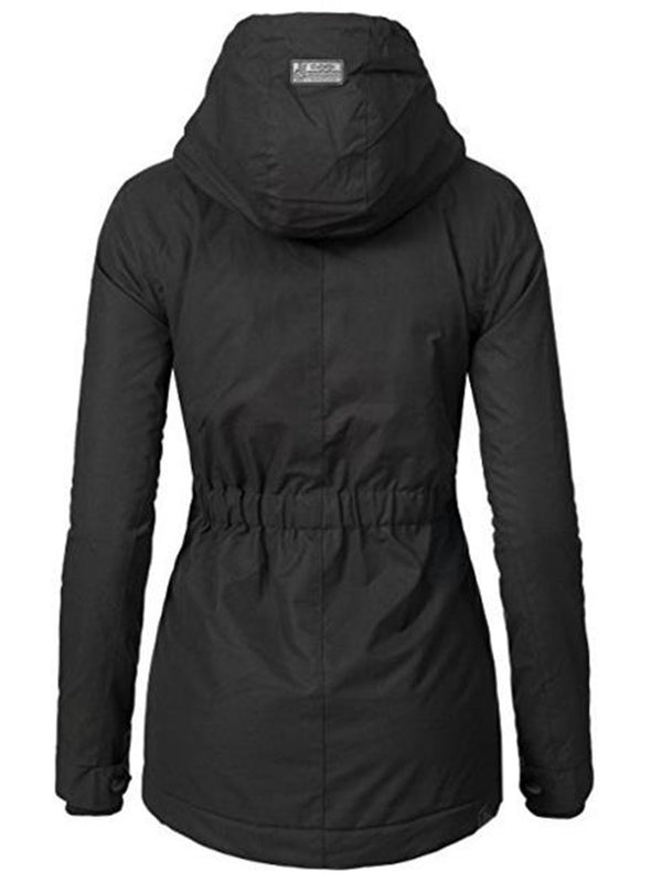 Zipper Slim Long Sleeve Mid-Length Hooded Jacket