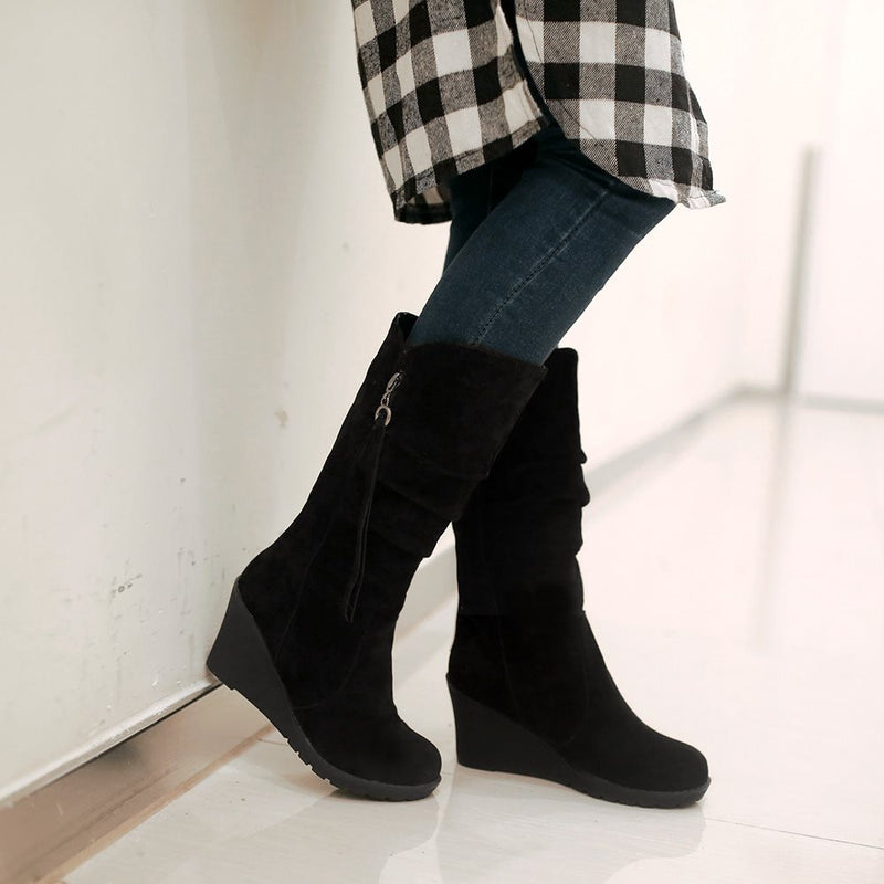 Round Toe Plain Wedge Heel Side Zipper Casual Western Boots