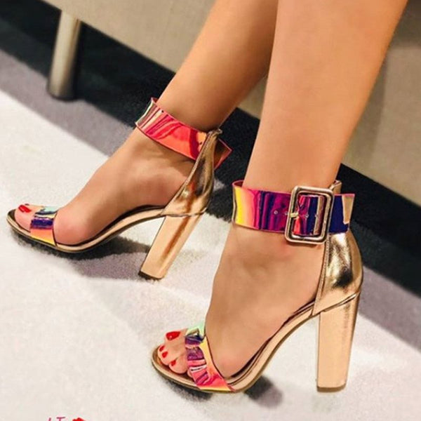 Buckle Chunky Heel Heel Covering Open Toe Casual Sequin Sandals