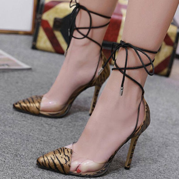 Lace-Up Cross Strap Stiletto Heel Pointed Toe 11cm Casual Thin Shoes