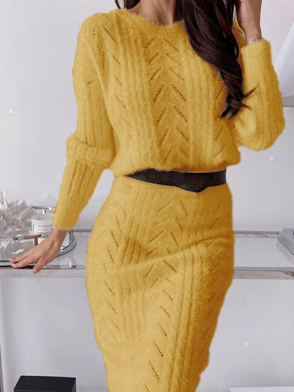 Round Neck Long Sleeve Mid-Calf Pullover Sheath Dress