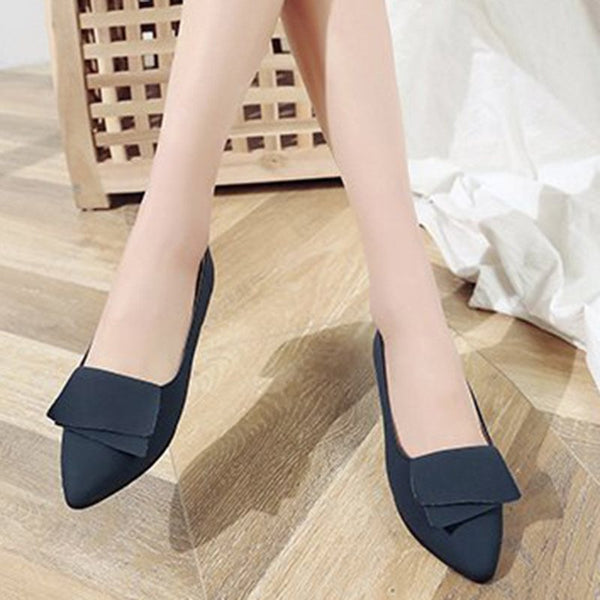 Block Heel Pointed Toe Slip-On Plain 2.5cm Thin Shoes