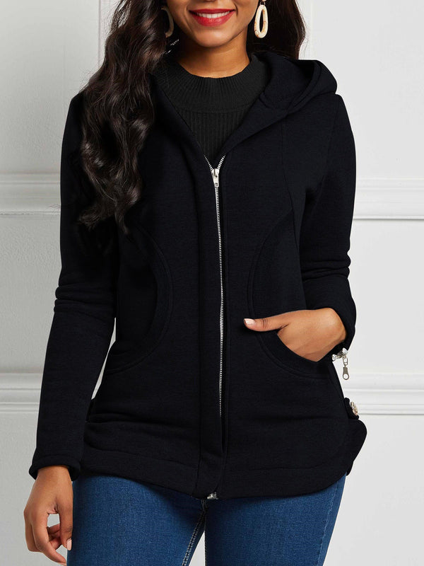 Slim Long Sleeve Zipper Hooded Mid-Length Jacket