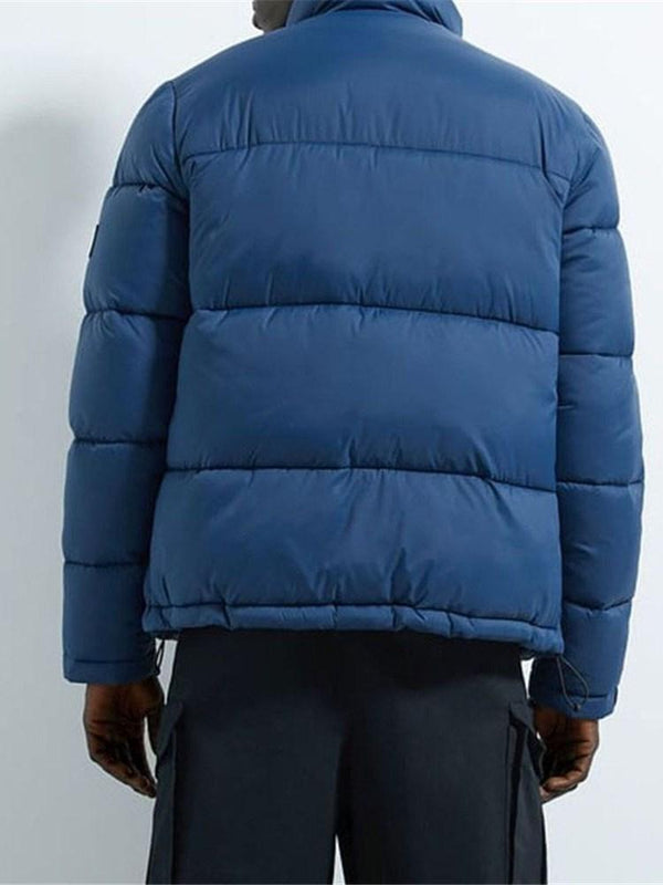 Standard Stand Collar Color Block Casual Zipper Down Jacket