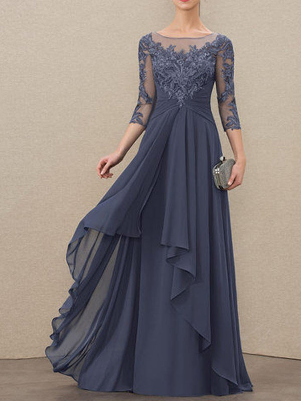 Round Neck Floor-Length Three-Quarter Sleeve A-Line Dress Dress