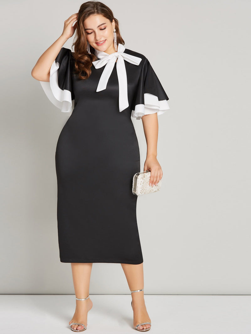 Falbala Bow Collar Half Sleeve High Waist Ladylike Dress
