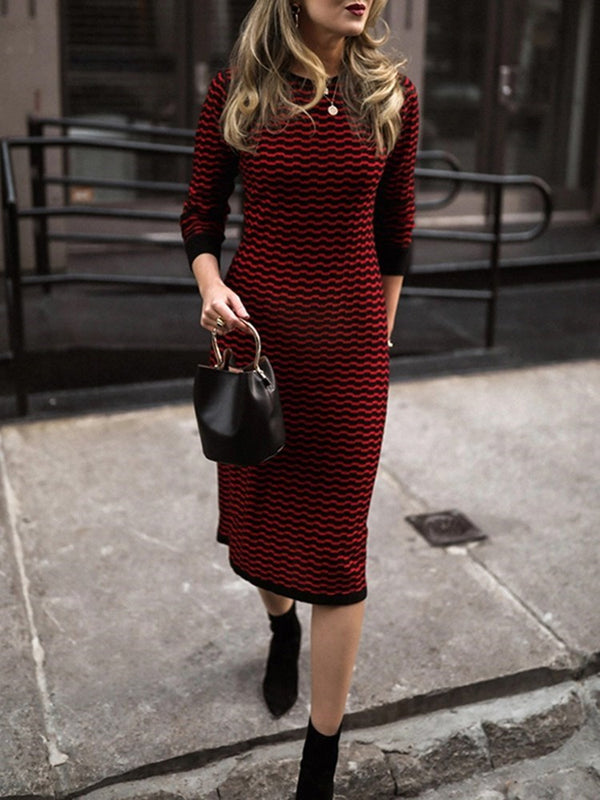 Mid-Calf Round Neck Long Sleeve Stripe Regular Dress