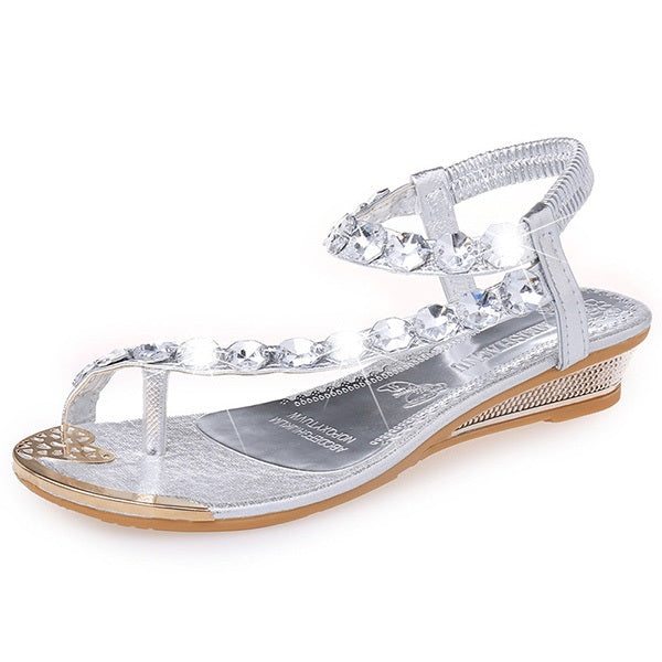 Elastic Band Ankle Strap Wedge Heel Toe Ring Plain Rhinestone Sandals
