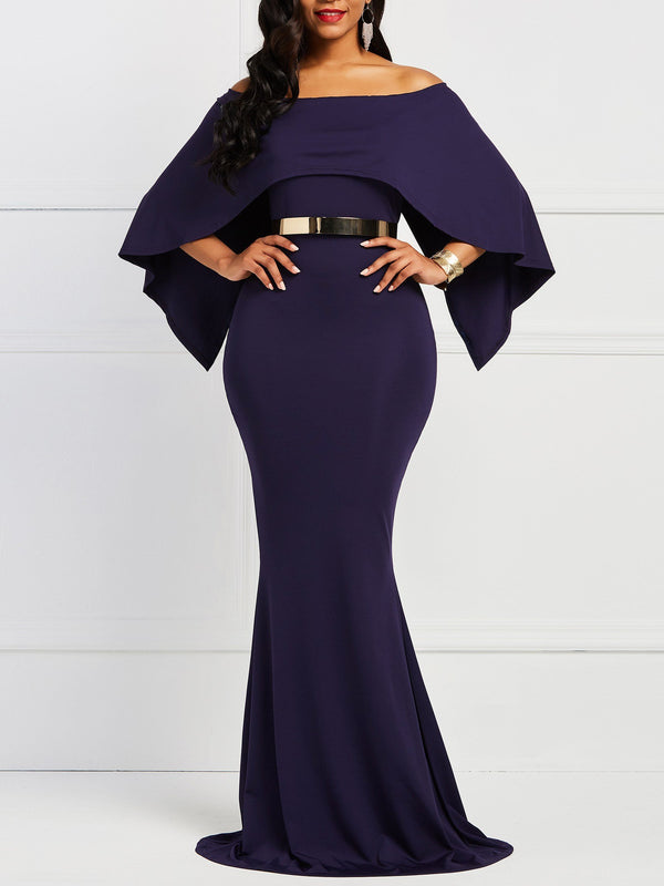 Three-Quarter Sleeve Floor-Length Off Shoulder Batwing Sleeve Bodycon Dress