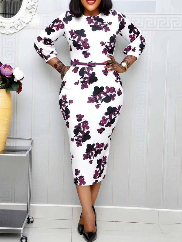 Mid-Calf Print Three-Quarter Sleeve Pullover Floral Dress