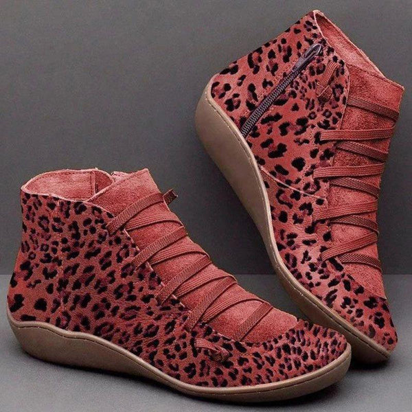 Side Zipper Leopard Round Toe Thread Casual Boots