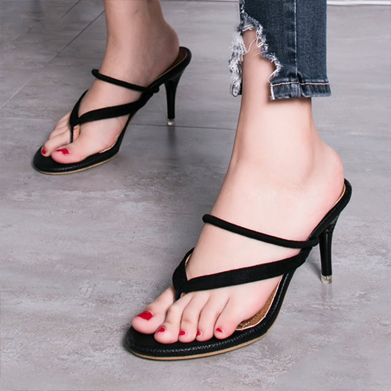 Slip-On Stiletto Heel Slingback Strap Thong Casual Sandals