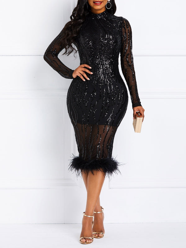Sequins Nine Points Sleeve Mid-Calf Elegant High Waist Dress
