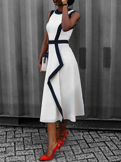 Mid-Calf Round Neck Sleeveless Pullover A-Line Dress