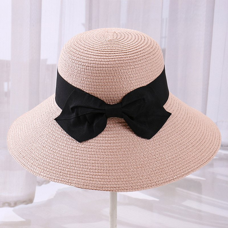 Straw Hat Korean Bowknot Plain Hats