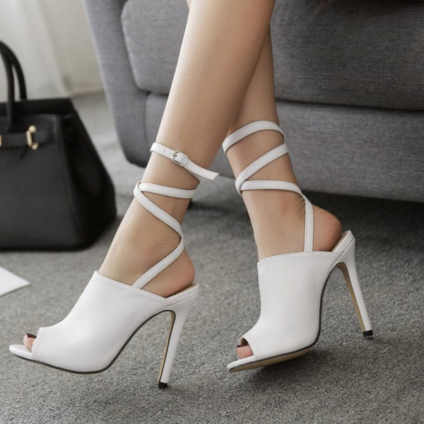 Stiletto Heel Buckle Peep Toe Plain Buckle Sandals