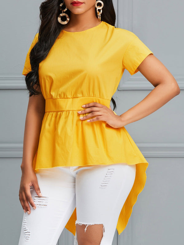 Regular Plain Round Neck Short Sleeve Mid-Length Blouse