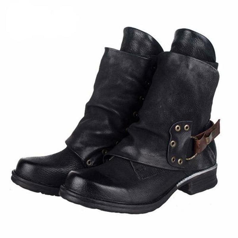 Horse-Shoe Heel Round Toe Side Zipper Ethnic Professional Boots