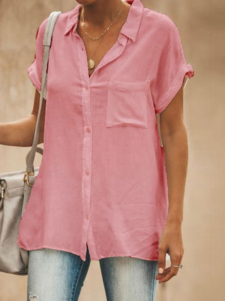 Plain Lapel Pocket Short Sleeve Mid-Length Blouse