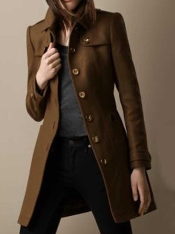 Single-Breasted Button Regular Mid-Length Lapel Overcoat
