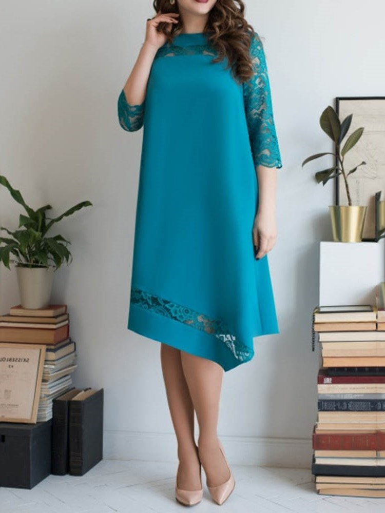 Three-Quarter Sleeve Patchwork Mid-Calf Straight Plain Dress