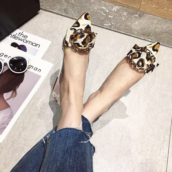 Pointed Toe Block Heel Slip-On Print Low-Cut Upper Casual Thin Shoes