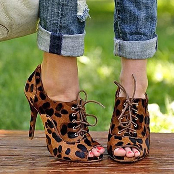Thread Peep Toe Lace-Up Stiletto Heel Leopard Low-Cut Upper Thin Shoes